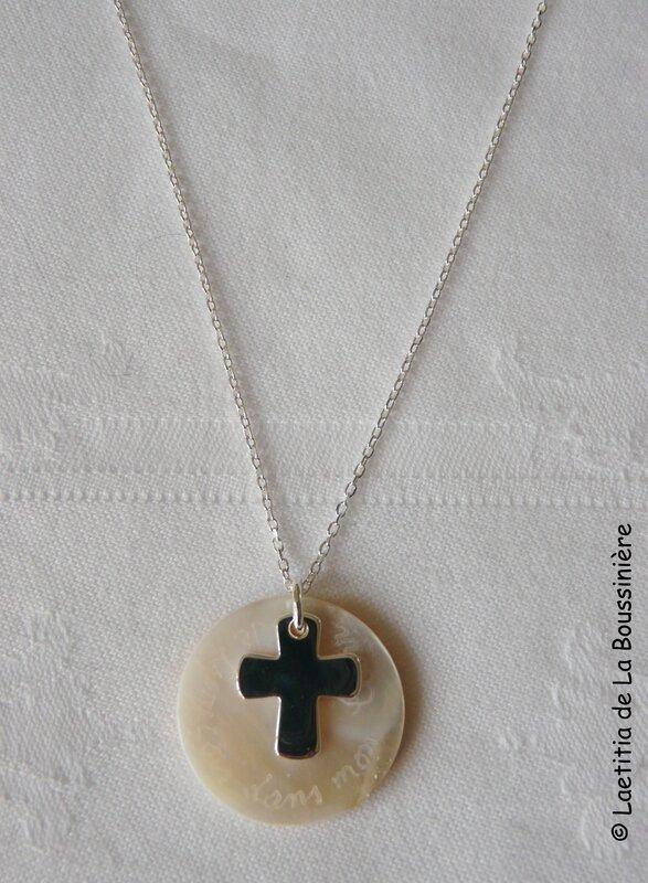 Collier de Communion Croix 16 mm (sur chaîne argent massif)