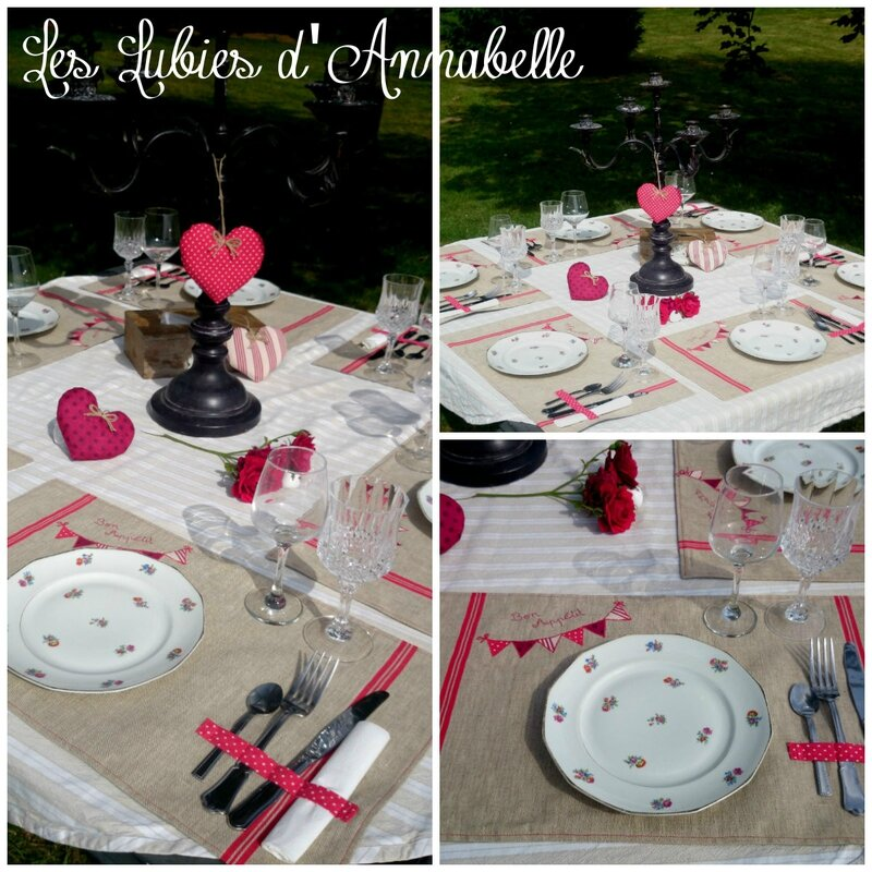 Lot 6 set de table + 3 coeurs campagne