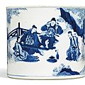 A blue and white 'seven sages of the bamboo grove' brushpot, bitong, qing dynasty, kangxi period (1662-1722)