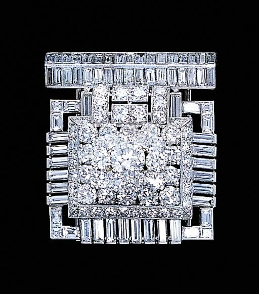 A fine diamond clip brooch, by Cartier, circa 1932