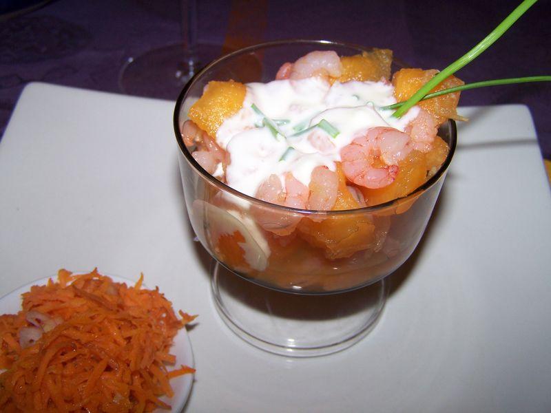 verrine de melon-crevettes - le blog de flo