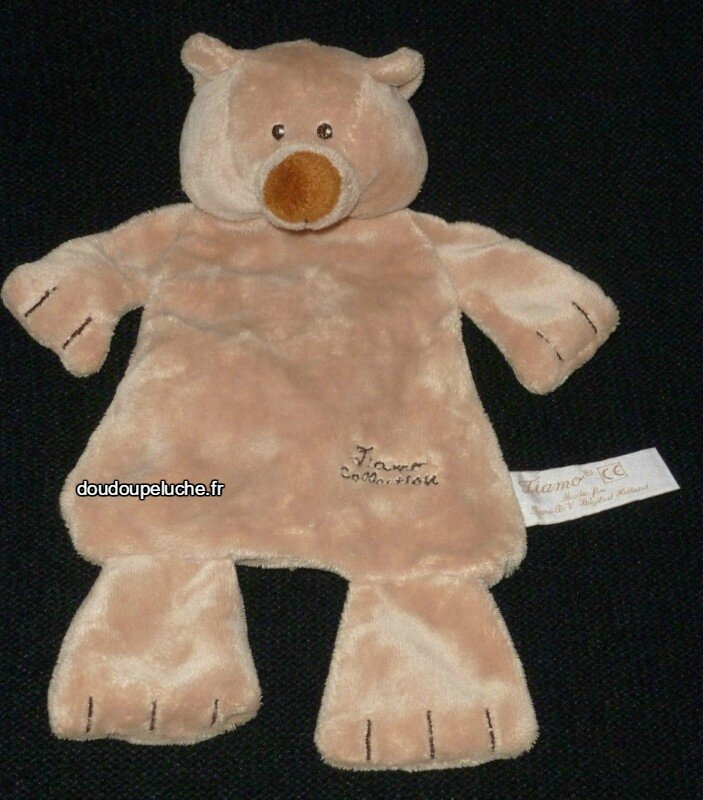 Doudou peluche ours plat, tiamo collection marron clair