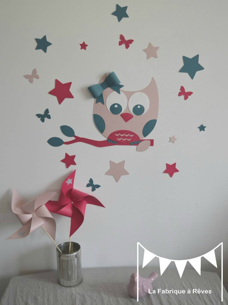Stickers d coration chambre enfant fille b b hibou for Deco chambre bebe fille rose