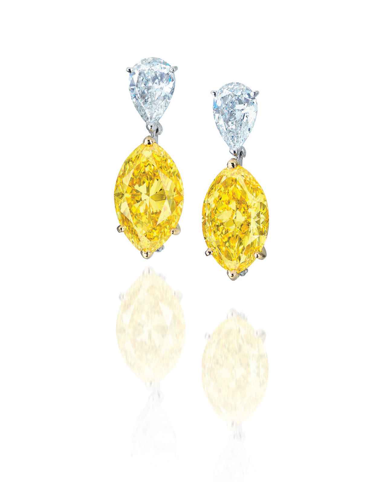 An impressive pair of coloured diamond and diamond ear pendants, by Moussaieff