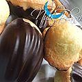 Mini-madeleines à la frangipane en coque de chocolat...