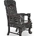Paire de fauteuils en bois sculpté, indochine, vietnam, xxème siècle