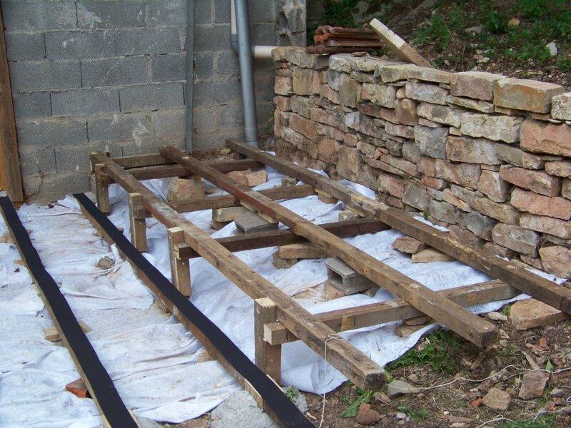 Terrasse lambourdes g otextile bande caoutchouteuse r habilitation d 3 - Pose geotextile terrasse ...