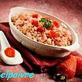 Riz au lait, fraises et speculoos .