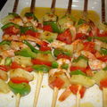 Brochettes de crevettes exotiques