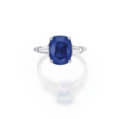 Platinum, Sapphire and Diamond Ring, Carvin French 2