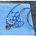 Collier Vierge enfant argent coton ciré bleu gravé-1