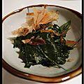Mon bouillon de udon au saumon laqué, épinards au shoyu