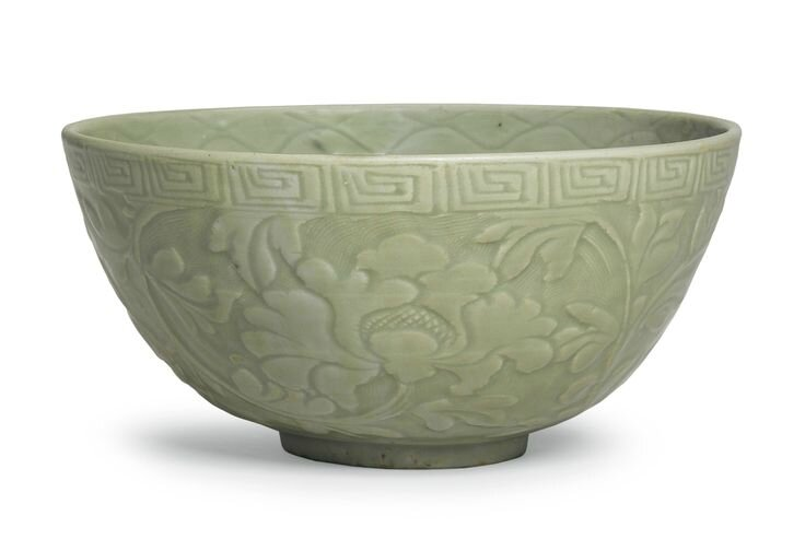 A large 'Longquan' celadon carved 'Peony' bowl, Ming dynasty, 15th century