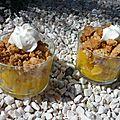 Verrine mangue, citron vert et menthe et son crumble
