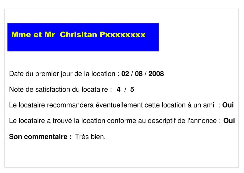 Appréciation mme et mr Christian Pxxxxxxx