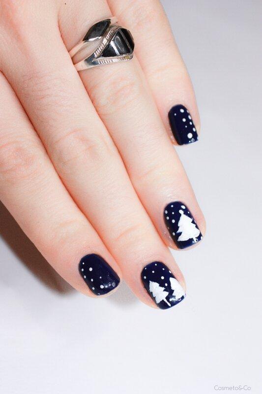 nail art sapin neige RARE Nail Ocean blue-2