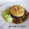 Parmentier, sauce morilles et marrons, et crumble de foie gras