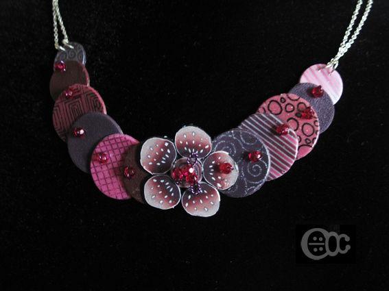 Collier lentilles +fleur violet-rose transfert