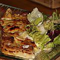Crêpes jambon, fromage à raclette et béchamel