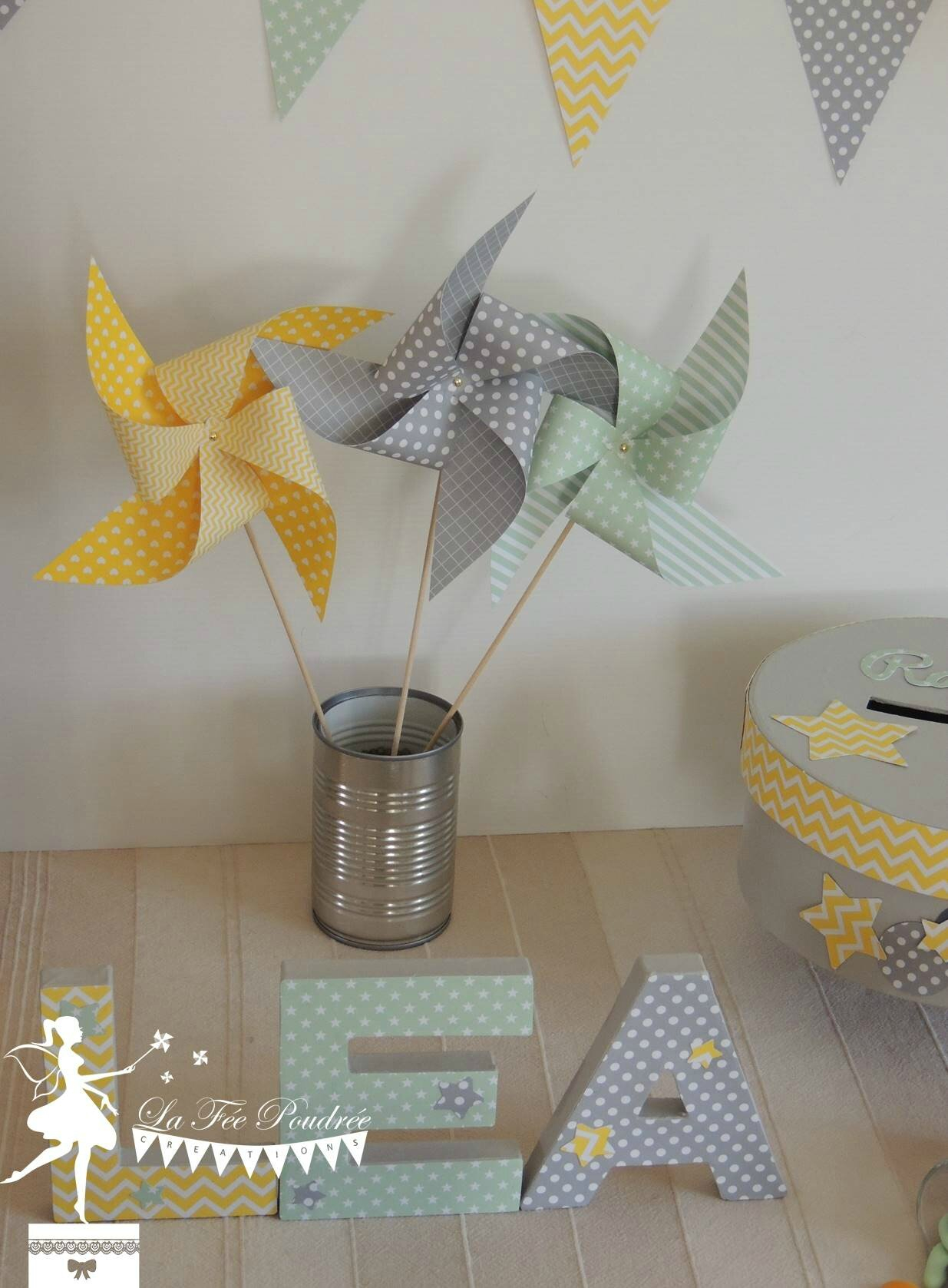 decoration bapteme baby shower theme etoile moulin lettre decoree moulin urne fanion