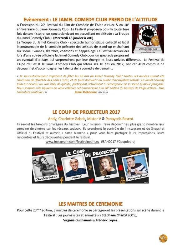 Communique de Presse - Festival de l'Alpe d'Huez 2017 - Programmation -