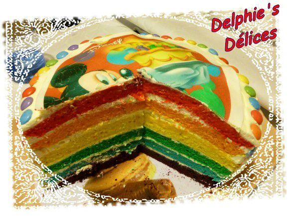 Gateau surprise arc en ciel