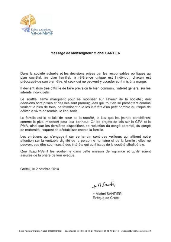 Message de Mgr Santier- eveque de Creteil
