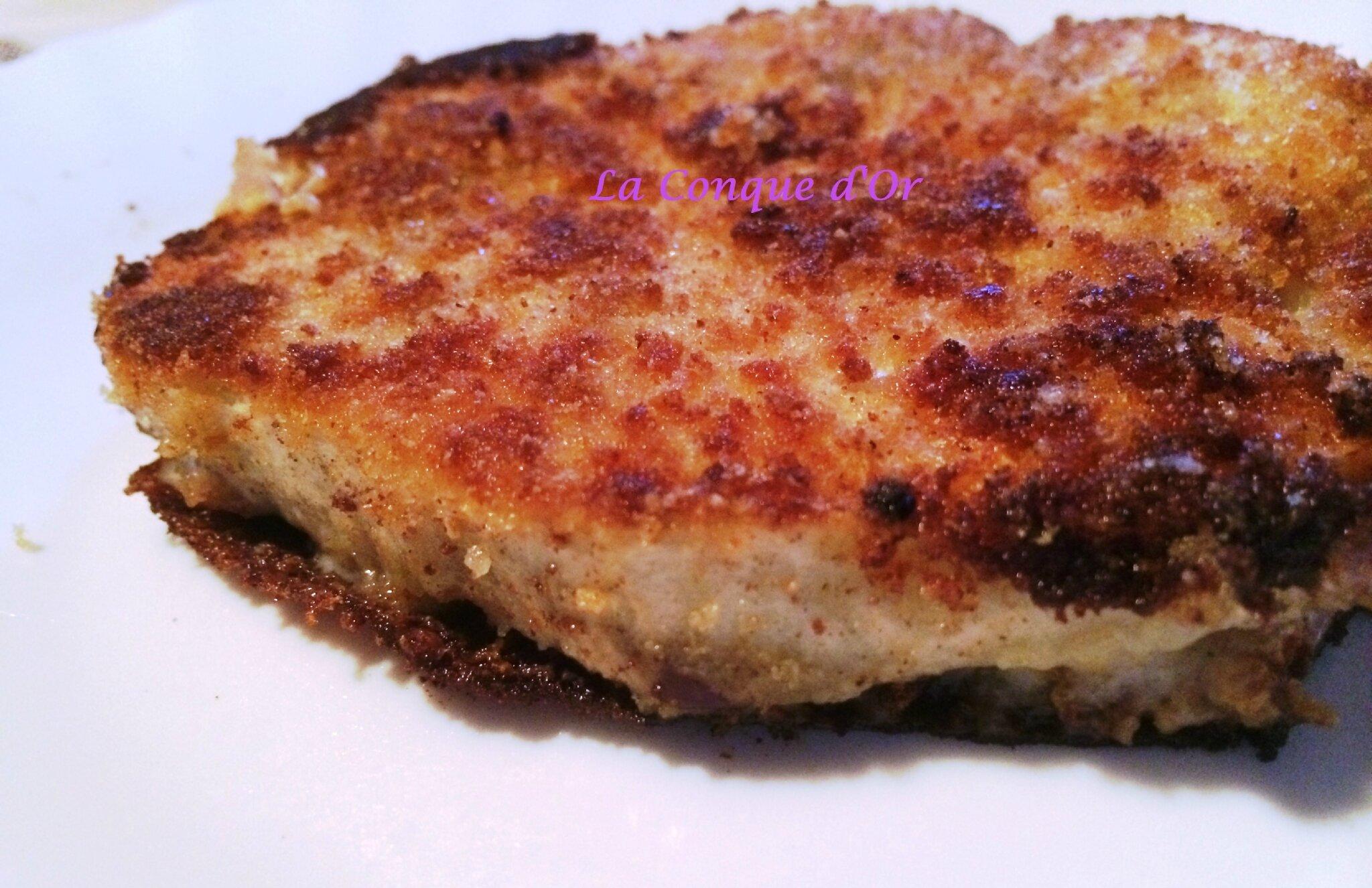 Sandwichs d'aubergines panées au jambon et à la mozzarella