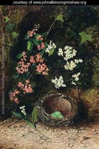 Still-Life-Of-Birds-Nest-With-Primulas-And-Blossom