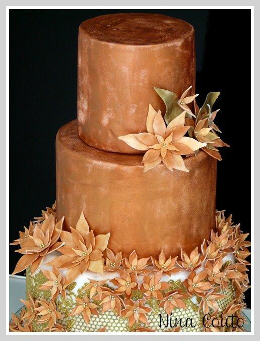 gateau mariage nimes wedding cake bronze et doré 1