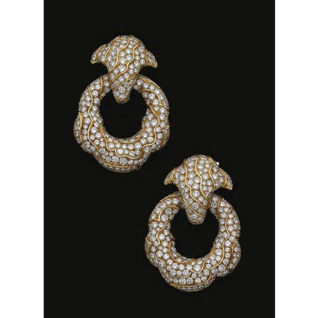 Pair of gold and diamond ear clips, 'Esclave', Marina B