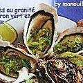 Huîtres au granité de citron vert et menthe