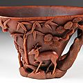 Chinese 'three friends' rhinoceros horn libation cup, 17th-18th century