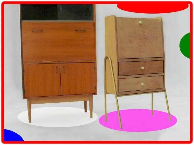 secretaire vintage bois massif design hitier vendu meubles d co vintage design scandinave. Black Bedroom Furniture Sets. Home Design Ideas