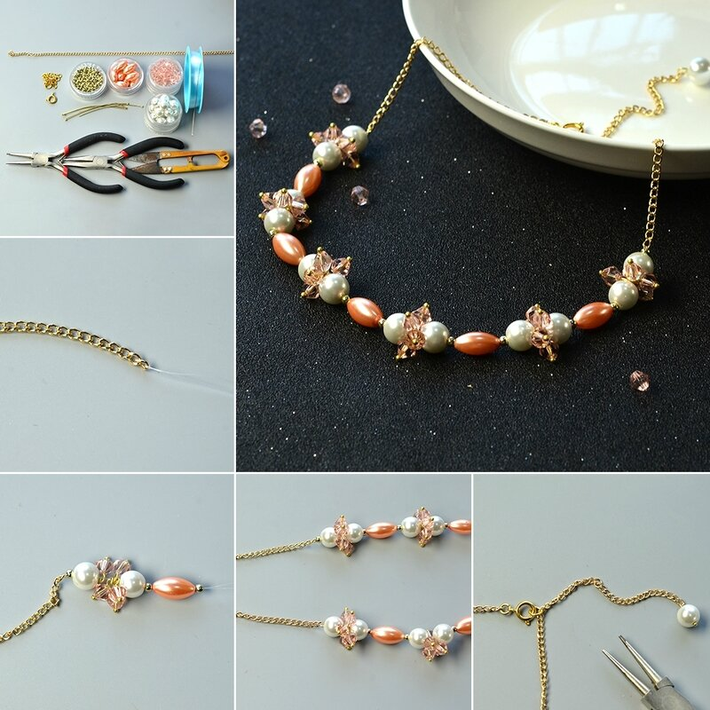 1080-Pandahall-Tutorial-How-to-Make-Simple-Pearl-Chain-Necklace-with-Glass-Beads