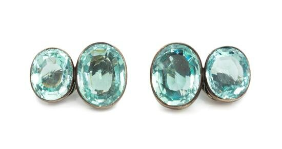 A Pair of Silver, Aquamarine and Green Beryl Earclips, Suzanne Belperron