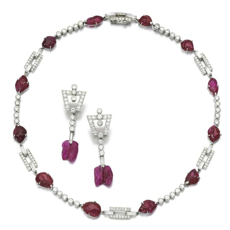 Ruby and diamond demi-parure, 1920s, composite