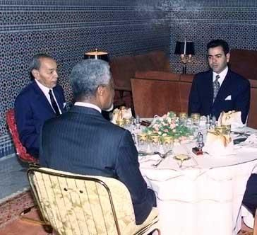 Crown Prince Moulay Rachid, King Hassan II and Secretary-General Kofi Annan in Marrakesh