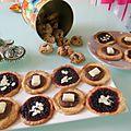 Original american cookiesde mike + tartelettes mûres / amandes + pâte à tartiner / chocolat blanc