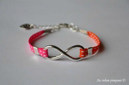 Bracelet Marine - Ruban sellier fushia et orange