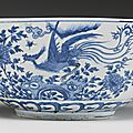 A large blue and white 'phoenix' bowl, ming dynasty, 17th century