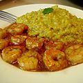 Crevettes sauce miel-soja-mélisse, riz coco-curry