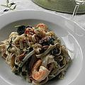 Fettucine aux crevettes et aux épinards, sans gluten et sans lactose