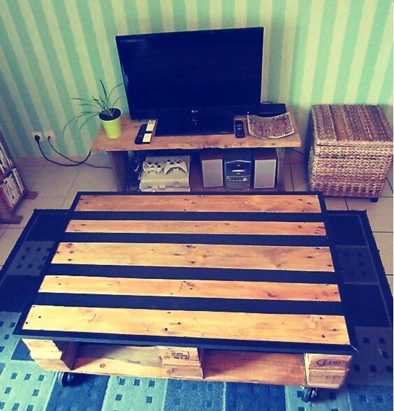 table basse et meuble t l la patte de cha. Black Bedroom Furniture Sets. Home Design Ideas