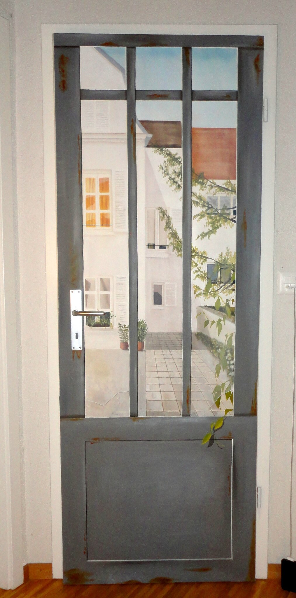Sticker de porte trompe l 39 oeil d co porte orientale art for Trompe l oeil interieur