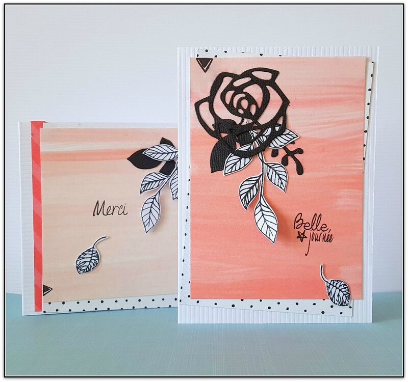 duo cartes roses belle journee