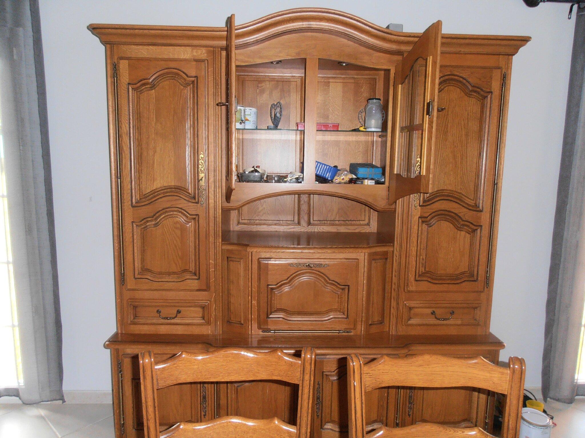 Meuble de mon salon en bois chene marron crea steph for Meuble salon marron