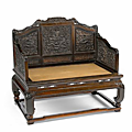 An elaborately carved zitan and hongmu throne chair. 19th century