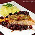 Saumon faon Rossini, sauce aux airelles