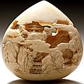 Buddhist Jewel of Wisdom Carved with Mountain Pavilions by Kaigyokusai (Masatsugu) (Japan, Osaka, 1813-09-13 - 1892-01-21) / Mid